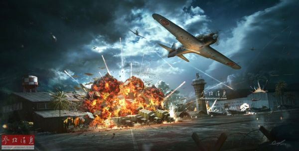 图为艺术家用CG还原的偷袭珍珠港期间,美军机场遭日机轰炸的场面。