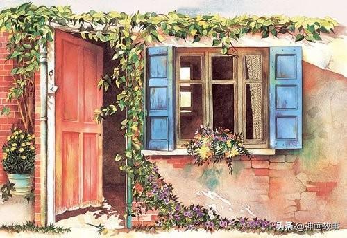 文艺小清晰水彩插画,门窗绘画参考