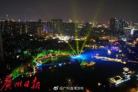 炫目!首场荔湾水幕灯光秀试演,充分展现西关风情及传统广府文化
