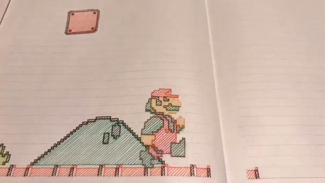 达人玩家靠纸笔手绘还原《超级玛丽》游戏,3天获300万次观看!