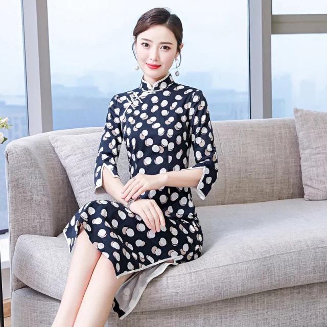 弹力文艺复古旗袍,棉质面料,贴身穿很舒适!