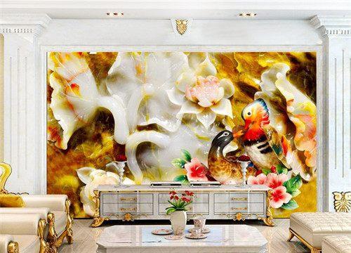 2018玉石背景墙装修效果图 客厅设计得很美