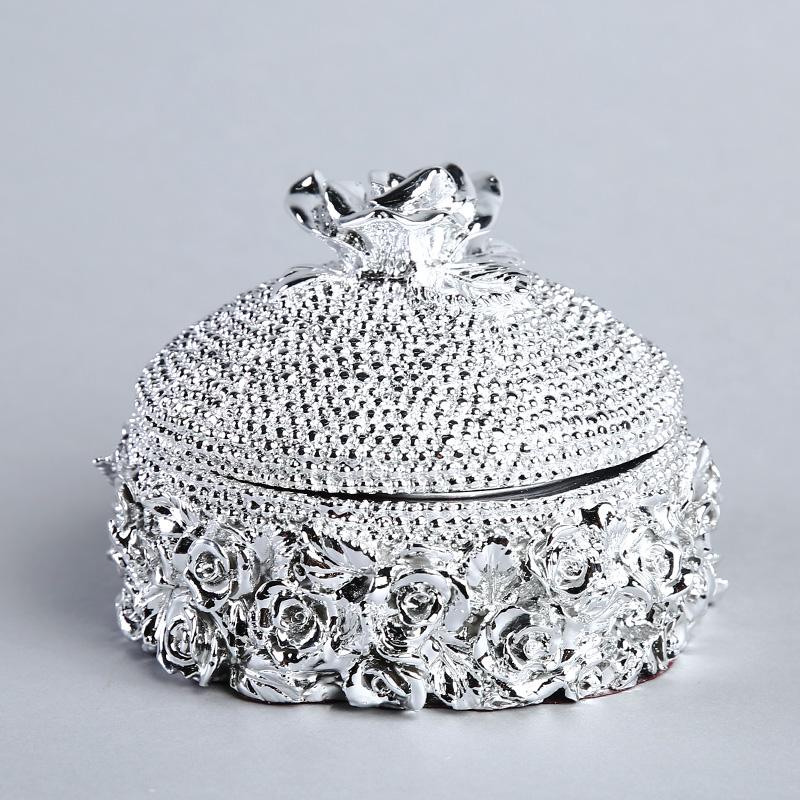 高档玫瑰花首饰盒树脂工艺品摆件  家居摆设创意办公室软装饰品 ST330A2