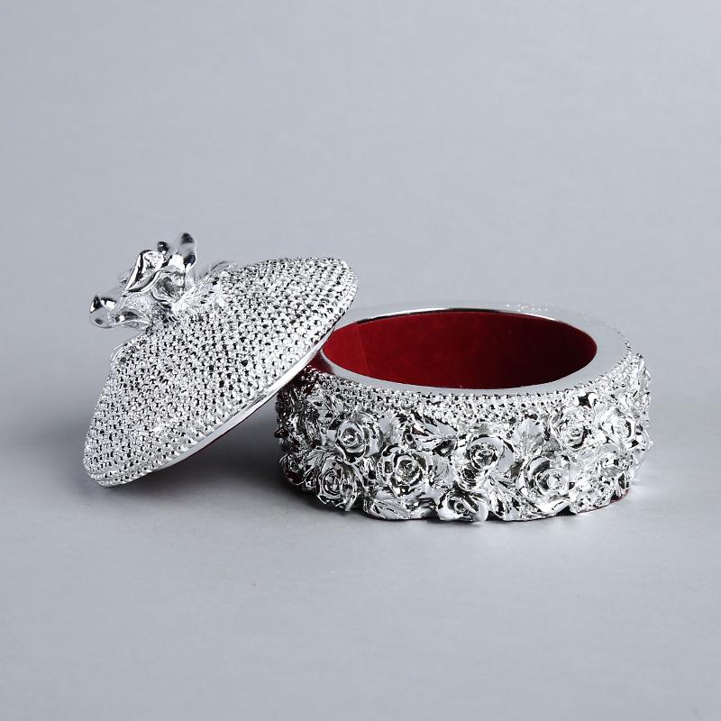 高档玫瑰花首饰盒树脂工艺品摆件  家居摆设创意办公室软装饰品 ST330A1