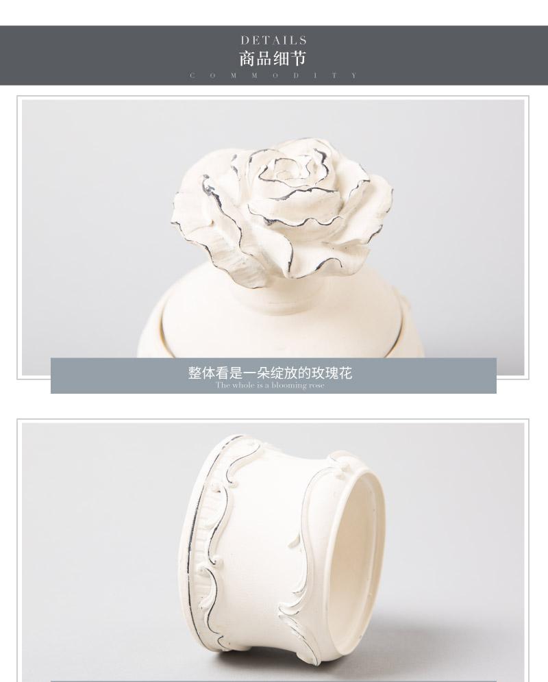 RESIN BOX 简约白色玫瑰树脂饰品盒J6S1034