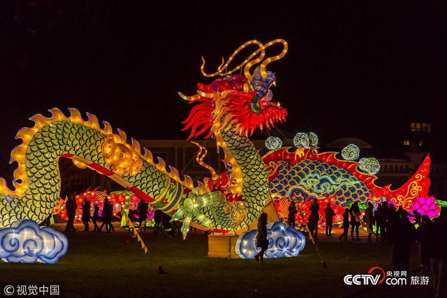 """德国动物园举办中国灯光节 """"东方巨龙""""惊艳亮相"""