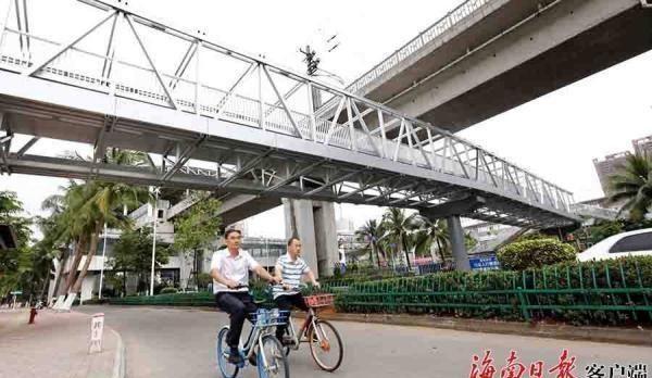 海口南海大道铝合金人行天桥基本完工