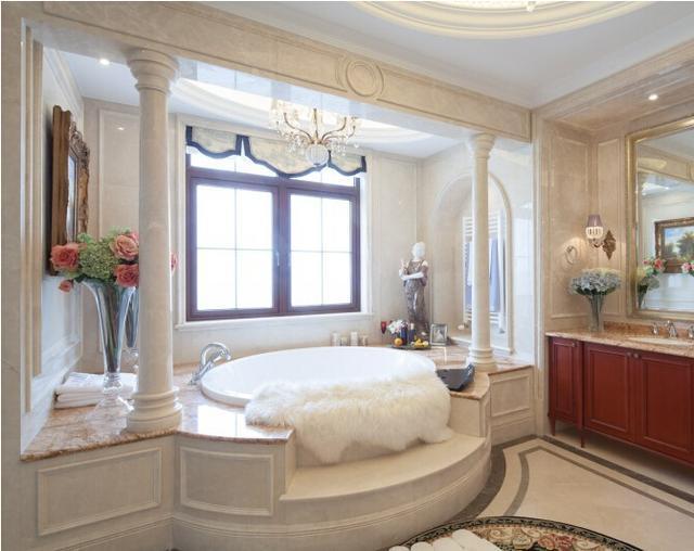 600平法式别墅,电视背景墙全面石材,温馨浪漫又不失大气!