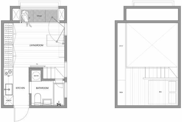 22平一居室,开门就是厨卫!把床吊在玄关上!完工变通透小豪宅