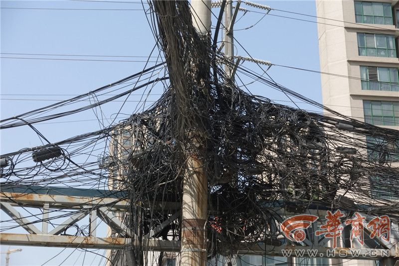 1.5公里长线缆挂满35根电杆 昆明路″空中蜘蛛网″啥时能落地