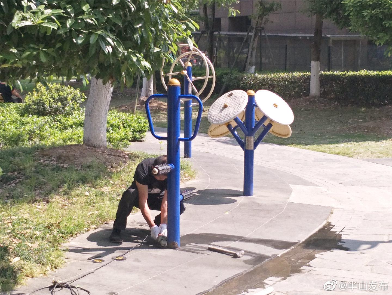 """金星社区健身器材""""更新换代"""",居民健身更放心"""