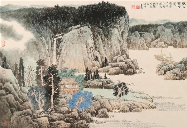 五彩缤纷油画笔换成乌黑浓墨,蔡萌萌山水之盟个展在文史馆举办