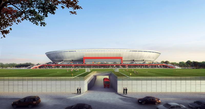 上港新主场来了!浦东足球场首根钢结构吊装完成,是国内首个A级比赛专业足球场