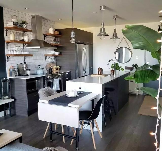 北欧风单身公寓,进门就被圈粉了!餐厨一体设计,太美了