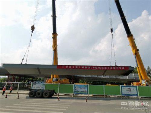 安徽合肥方兴大道钢结构工程首联钢箱梁吊装完成