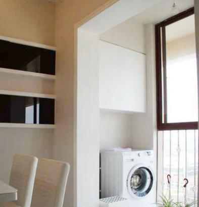 洗衣机柜子阳台装修效果图,感受精美的洗衣机柜设计!