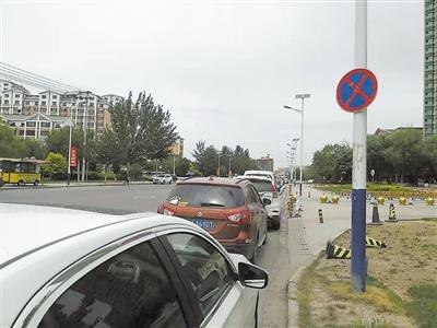 禁止停车标牌下?为何车辆一排排