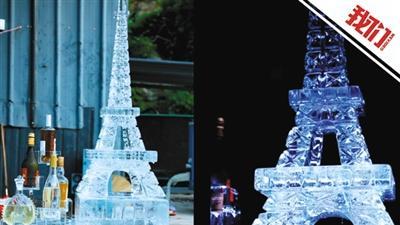 """小伙做冰雕""""埃菲尔铁塔""""用200多斤冰块花费8小时"""