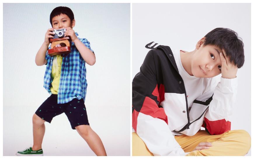 王艳晒和儿子的写真,称是球球最后一次出现在童装杂志上