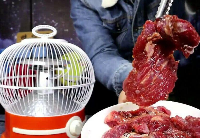 吃货明用奇葩方式烤肉,把牛肉暖炉上放