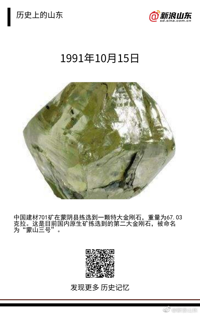 1991年10月15日中国建材701矿在蒙阴县拣选到一颗特大金刚石