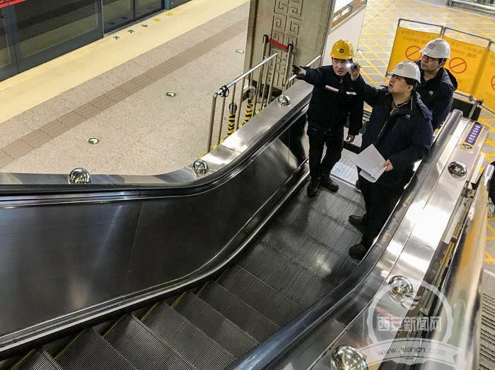 """西安特检院凌晨为地铁电梯""""体检"""""""