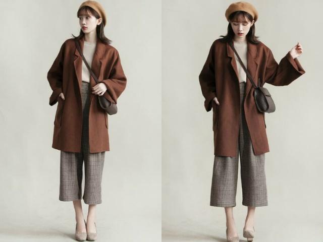 冬天百搭又好看的咖啡色大衣,搭配阔腿裤穿韩范十足!