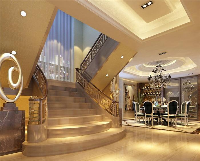 【成都智尚酒店设计】5层酒店楼梯的设计效果图
