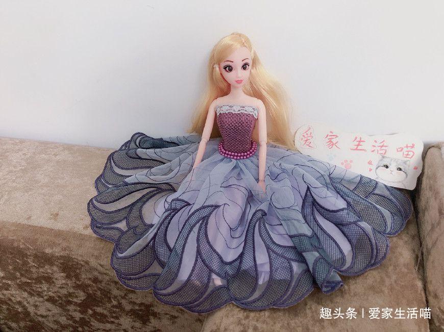 给芭比娃娃手工缝制可以脱礼服裙子,效果很棒,做法超简单!