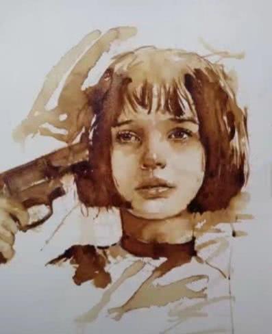 美术生用美味咖啡画画,画面的女孩带咖啡味,想要做朋友吗?