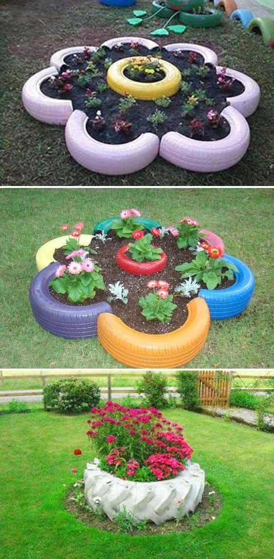 达人用废弃材料建花园,轮胎围成一朵花,破钢管变景观花园,省钱