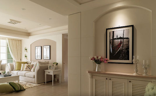 米黄色的美式风格三房装修太好看了,阳台改储物间真的很实用!